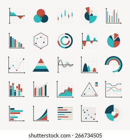 charts diagrams and graphs flat icons