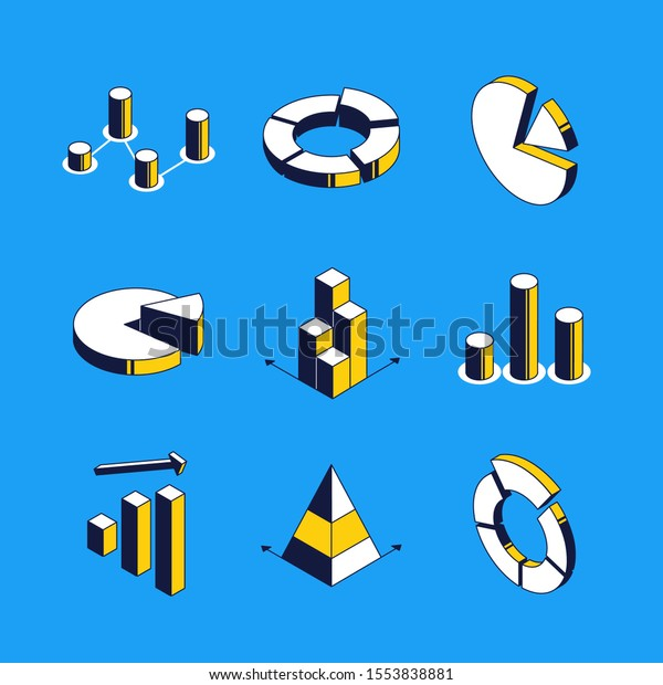 Charts and diagrams - vector isometric icons set. Statistics visualization 3d thin line objects. Data in diagrams, graphs. Market segmentation, infographics elements isolated outline images