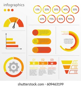 Charts, graphs, circle diagram with percentage, speedometer. Infographic elements set. Vector illustration.