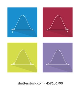 Charts and Graphs, Illustration Collection of Gaussian Bell Curve or Standard Normal Distribution Curve.