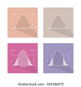 Charts and Graphs, Illustration Set of Gaussian Bell Curve or Standard Normal Distribution Curve.
