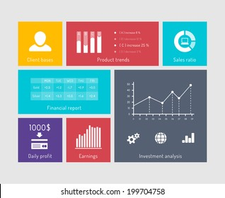 Charts and graphs on user interface elements. Financial elements in flat style