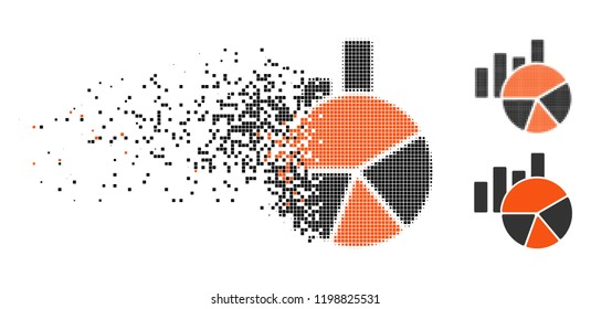Charts icon in dissolved, pixelated halftone and undamaged entire versions. Elements are combined into vector disappearing charts pictogram. Disappearing effect uses square particles.