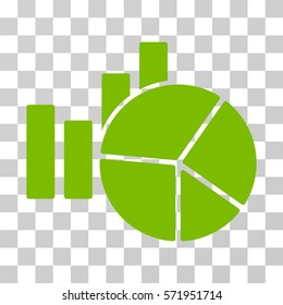Charts icon. Vector illustration style is flat iconic symbol, eco green color, transparent background. Designed for web and software interfaces.