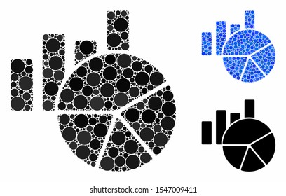 Charts mosaic of round dots in variable sizes and color tinges, based on charts icon. Vector round dots are organized into blue mosaic. Dotted charts icon in usual and blue versions.