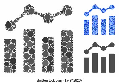 Charts mosaic of small circles in various sizes and color tinges, based on charts icon. Vector small circles are composed into blue mosaic. Dotted charts icon in usual and blue versions.