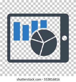 Charts on PDA icon. Vector pictograph style is a flat symbol, color, chess transparent background. Designed for software and web interface toolbars and menus.