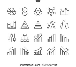 Charts UI Pixel Perfect Well-crafted Vector Thin Line Icons 48x48 Grid for Web Graphics and Apps. Simple Minimal Pictogram Part 2-4