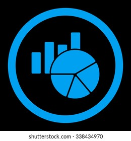 Charts vector icon. Style is flat rounded symbol, blue color, rounded angles, black background.