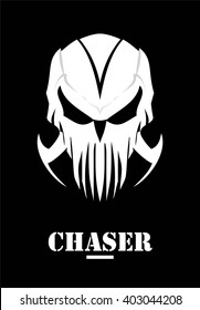 Chaser. Hunter. Skull with claw. White Mask. Phantom. Alien. Predator. Artwork. Suitable for team identity, insignia, emblem, illustration for apparel, mascot, motorcycle community, icon, etc.
