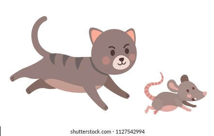 Сat chases mouse.  Hunting instinct of Pets. Flat style vector illustration.