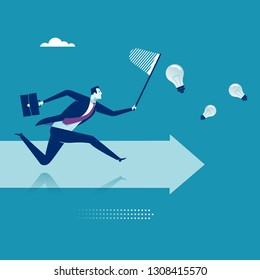 Chasing ideas. Business vector illustration