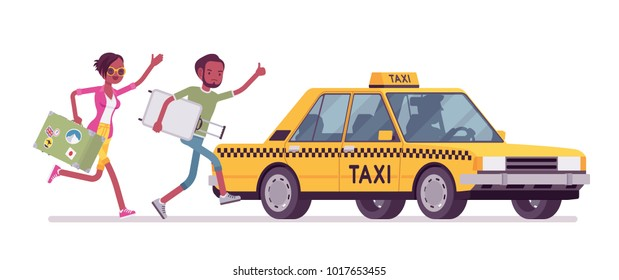 Chasing a taxi cab. Young black man and woman with luggage in a hurry running to get a car, yellow public passenger vehicle. Vector flat style cartoon illustration isolated on white background