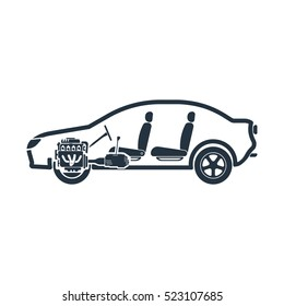 chassis, shaft, side, steering, car plane, isolated icon on white background, auto service, car repair