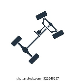 chassis, steering rack, isolated icon on white background, auto service, repair, car detail