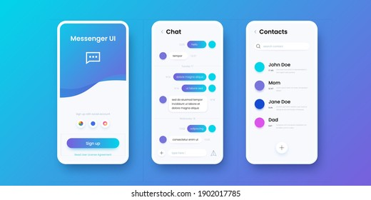 Chat app. Smartphone messenger. Communication application UI template with sign in, messaging and contacts screens. Collection of mobile interfaces design with buttons, vector modern phones set
