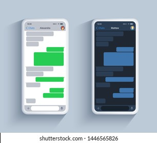 Chat app social network template in dark and light theme on white phone.. Short text speech bubble concept, vector ui kit messanger in realistic 3d style.