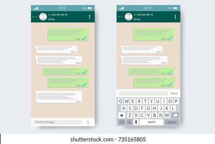 Chat app template whith mobile keyboard. Social network concept. Blank template. Messenger window. Chating and messaging concept. Vector illustration