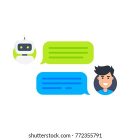 Chat bot concept. Man chatting with cute smiling robot. Dialog with bot. Vector flat modern style cartoon character illustration icon design. Isolated on white. Customer service help