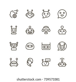 Chat bot icon set. Collection of high quality outline chat pictograms in modern flat style. Black artificial intelligence symbol for web design and mobile app on white background. Bots line logo.