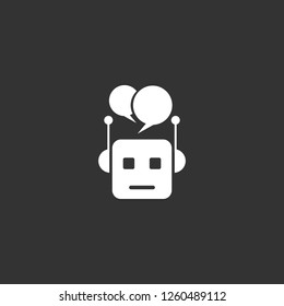 chat bot icon vector. chat bot sign on black background. chat bot icon for web and app