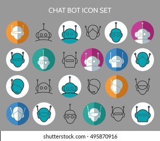 Chat bot icons. Virtual chatter assistant vector signs