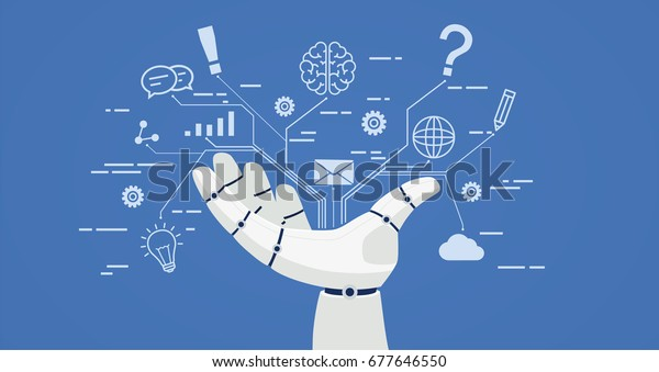 Chat Bot Robot Hand Icons Artificial Stock Vector (Royalty Free