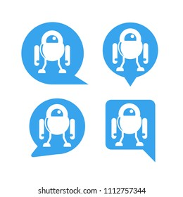 chat bot, robot in speech bubble icons