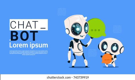 Chat Bot Robots Holding Speech Bubble Banner With Copy Space, Chatter Or Chatterbot Support Service Concept Flat Vector Illustration