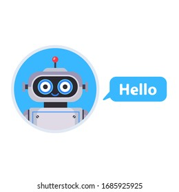 Chat bot started a conversation. Assistant for all issues. flat character vector illustration