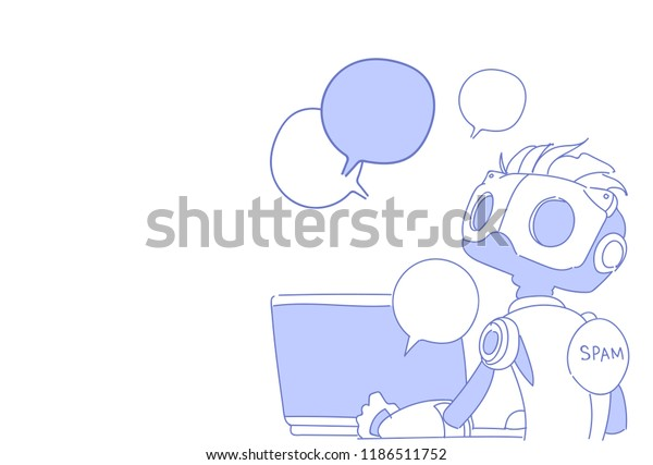 Chat Bot Using Laptop Computer Robot Stock Vector (Royalty