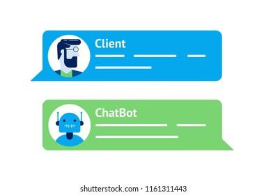 The chat bot vector design illustration. Modern flat style. Chat bot icon . Logo design. UI UX element for web design.
