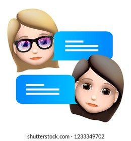 Chat bot woman emoji  concept. Modern style cartoon character icon design. Dialog help service. Isolated on white background, vector illustration.