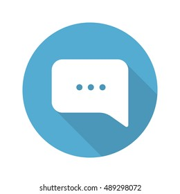 Chat box flat design long shadow icon. Dialogue bubble. Vector silhouette symbol
