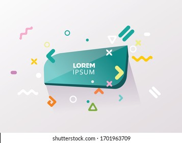 Chat bubble with geometric simple shapes, abstract design, vector.