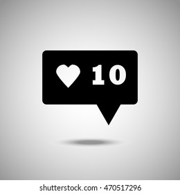 Chat bubble with heart icon. Flat style. Grey background. Vector illustration.