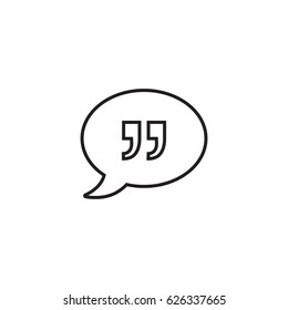 Chat bubble with quotes outline icon
