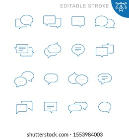 Chat bubble related icons. Editable stroke. Thin vector icon set
