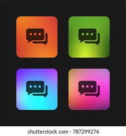Chat bubbles with ellipsis four color gradient app icon design