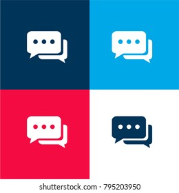 Chat bubbles with ellipsis four color material and minimal icon logo set in red and blue