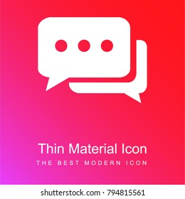 Chat bubbles with ellipsis red and pink gradient material white icon minimal design