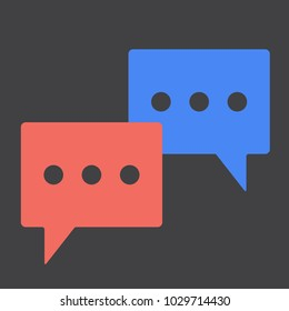 Chat bubbles flat desing icon set vector illustration. Easy talk in the clouds isolated on black background vector illustration
