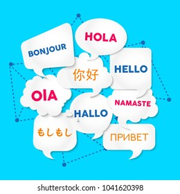 Chat bubbles with hello in different languages, concept illustration for translation idea or international communication. EPS10 vector.