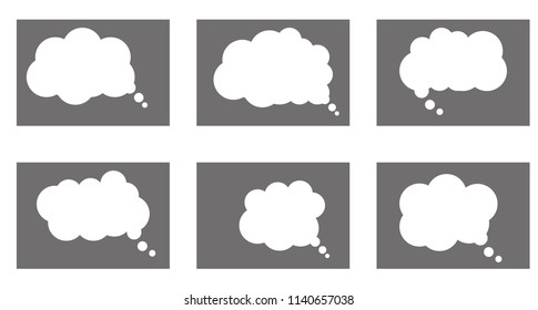 Chat cartoon bubbles, thinking clouds, vector isolated set