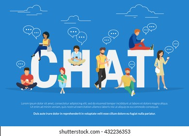 Chat concept illustration of young people using mobile gadgets such as tablet pc and smartphone for texting messages each other via internet. Flat big letters chat and guys and women standing near