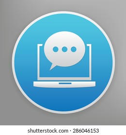 Chat design icon on blue button,clean vector