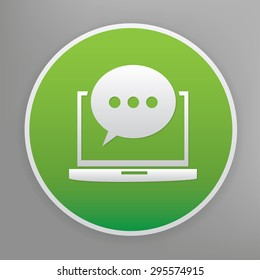 Chat design icon on green button, clean vector
