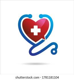 Chat Doctor Logo, Chat Health Logo Design, Vector