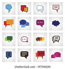 chat flat icon in different colors, shapes, sizes - vector icons. This graphic illustration also represents online talk, speech bubbles, community interaction, mobile app messaging, internet talk