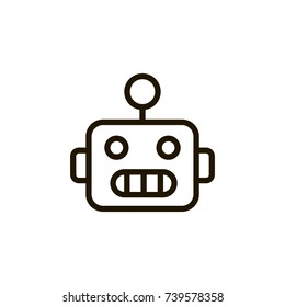 Chat flat icon. Single high quality outline symbol of chat bot for web design or mobile app. Thin line signs of technology for design logo, visit card, etc. Outline logo of artificial intelligence